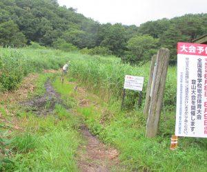 【草刈前の登山道】高校総体があるのにここは木道を架けないのかな?登山道の草刈はしてあるけど。