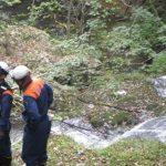 【ガイド活動】真庭消防署救急隊の方を山乗渓谷に案内しました