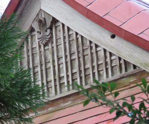 1/1   茅部神社の拝殿に穴  この穴はムササビが開けたもので福田神社、徳山神社など蒜山の神社の裏へ回るといくつも確認できます。 現在利用しているかどうかはわかりませんが、冬は冬眠中です。