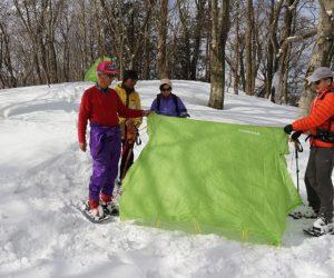 丸山山頂にてツェルト設置練習
