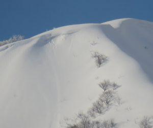 2/12  上蒜山8合目付近 茅部野より望遠で 雪庇は尾根の東側にできます
