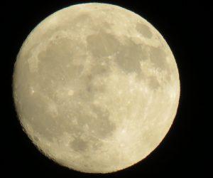 10/4 仲秋の名月 月齢では13.5位、新月から数えて14+1が15日、月齢とは必ずしも一致しない。 左隅が少し暗いのはそのためです