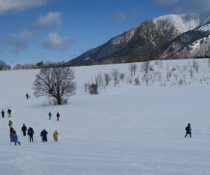 雪恋祭り2月4日 ①バージンスノーを行く 中央左の大木はコブシ、右奥に上蒜山