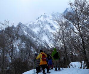 3/11 烏ヶ山南麓スノーシュウハイキング 今年は雪が少ないので深い谷を渡るコースは避け南麓から東尾根のコースを歩きました。