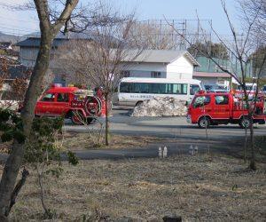 3/11 消防出初式 蒜山の消防出初式は雪が言えた今頃、4月の山焼きの前に行われます。