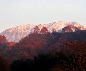 11/21  朝日を浴びる雪の大山南壁