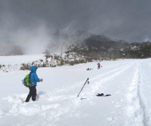 中蒜山山麓スノーシュー 我々のトレース、一人穴に落ち込み救助に向かう(雪に埋もれているのも演出)