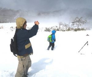 中蒜山山麓スノーシュー 一人穴に落ち込み救助に向かう、地吹雪が来る前に救出せねば