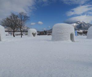 雪恋祭りスノーシュー体験 4上蒜山をバックに3mの巨大カマクラ