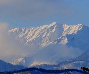 雪恋祭りスノーシュー体験 5純白の大山が姿を見せた